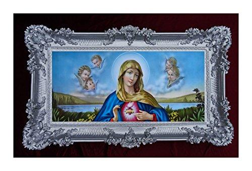 Barroco Gemälde Cuadro con Marco Envejecido. Repro Sagrada Virgen María Magdeburg Lena 96x 57cm (Plata Envejecida con Oro), plástico, Plata, 96 x 57 cm