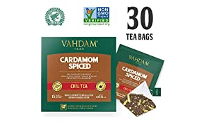 Cardamom Bolsitas de té chai - 30 Pyramid Tea Bags - 100% NATURAL SHREDDED CARDAMOM mezclado con BLACK TEA, la mezcla original de té indio de cardamomo, (2 cajas, 15 bolsas de té cada una) de India