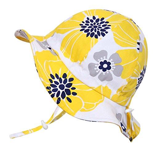 atmungsaktiver Sonnenhut mit Blumenmuster fürs Kleinkind (Mädchen) 50 UPF, mit verstellbarem Kinnriemen, faltbar (Mittel: 6-30m, Schlapphut: Gelbe Blume)
