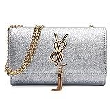 liyuan Kaviar Quasten Handtasche Einfache Umschlag Tasche Schulter Messenger Bag,Grey-OneSize