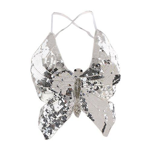 Baoblaze Damen Bauchtanz BH Bra Kostüm Pailletten Oberteil Top Skirt - Silber - Silber Pailletten-bh