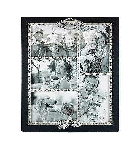Fetco Home Décor Jackie Memories Collage Rahmen, MDF, Black And Pewter-tone