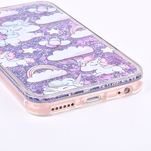 Aeeque® iPhone 6S Plus Liquide Paillette Brillant Glitter Cover Coque iPhone 6 plus/ 6S plus Plastique Dur Dual Layer Souple Silicone Étui de Protection Fantaisie Sables Mouvants Coeur Bleu avec Motif Licorne Cheval Cute, Coeur Violet