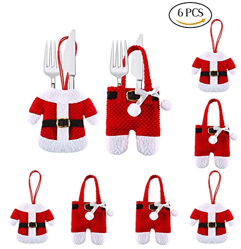 VEYLIN 6 Pieces Santa Suit Christmas Cutlery Holders for Xmas Table Decorations