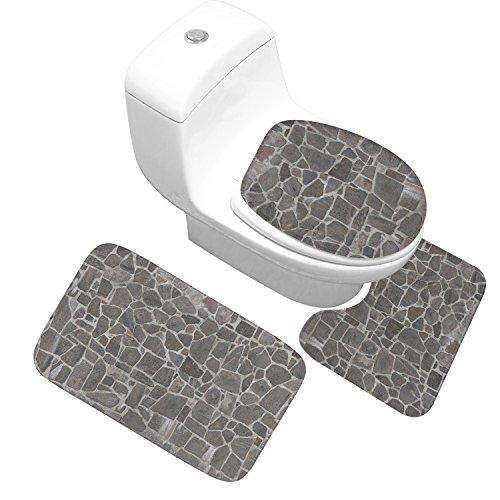X-Life Badezimmer Matte Set im Graue Wände-Dessin, mit Memory-Schaum Anti-Rutsch Absorbent, 3 tlg. Set 50x80 cm Bad Teppich + Pedestal Teppich + Toilettensitzabdeckung (Badezimmer-teppiche-memory-schaum)