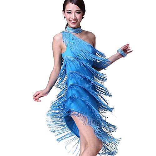 ZooBoo Latein Tanz Kleider Kostüme - Lateinamerikanische Tänze Walzer Tango Gesellschaftstanz Swingtanz Party Salsa Dekoration Accessoires Pailletten Quasten Wettbewerb Ball Rock Trikot Eine Schulter Tanzkleid für Damen Mädchen - Polyamidfaser (Hellblau) (Jive Tanz Kostüm)