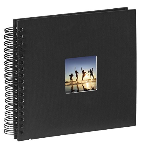 Hama Fine Art photo album, 50 black pages (25 sheets), spiral album 28 x 24 cm, with cut-out window in which a picture can be inserted, black