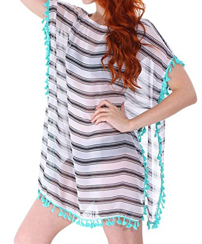 Wicky LS Damen Chiffon Gestreift Cover Up Bademode Beach Kleid Black and White Stripes with tassel