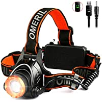 LED Head Torch -OMERIL USB Rechargeable Head Torches (4000mAh) with Super Bright 2000 Lumen, 90° Rotating & Zoomable Headlight, 3 Light Modes Headlamp for Running/Walking/Cycling/Fishing/Camping-IP44
