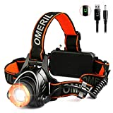 LED Head Torch, Techole 2000 Lumens Zoomable USB Rechargeable Headlamp with CREE T6