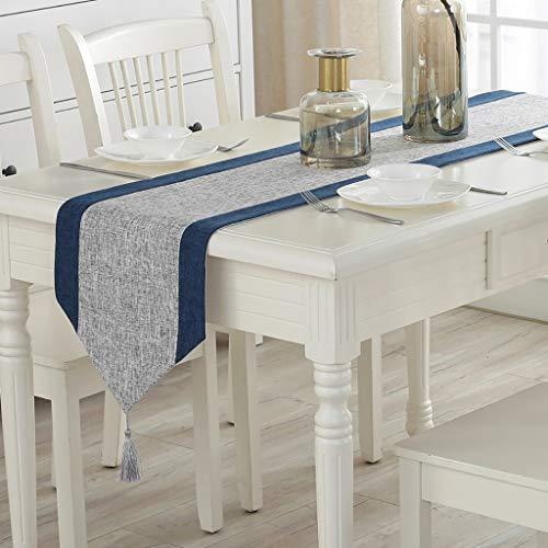WENJUN Rot Und Weiß Breit Gestreift Tischläufer Anti-Fouling Dekorative Baumwolle Tischläufer Tabelle Couchtisch Tabelle 2 Farben, 3 Größen (Farbe : Marine, größe : 33 * 180cm)