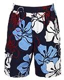 Olibia Mar: moderne Jungen Badeshort mit floralem Muster in blau oder rot