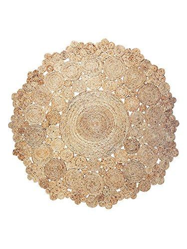Grande Yute Alfombra redonda, Fleur 150x 150cm