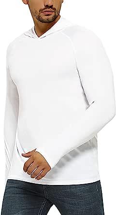 SAFORT Men's UPF 50+ Sun Protection Hoodie Long Sleeve T-Shirt for Running, Fishing, Hiking, White XL