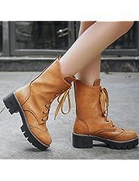 &ZHOU Botas otoño y del invierno botas cortas mujeres adultas 'Martin botas botas Knight A5-8 , yellow , 35