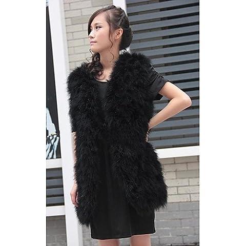 Xi&SOSO gilet di pelliccia struzzo con colletto di pelliccia casual / gilet partito (pi¨´ colori) , black , m - Faux Struzzo