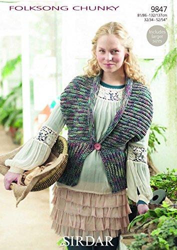 Sirdar Damen Folksong Chunky Weste Strickmuster 98472er -