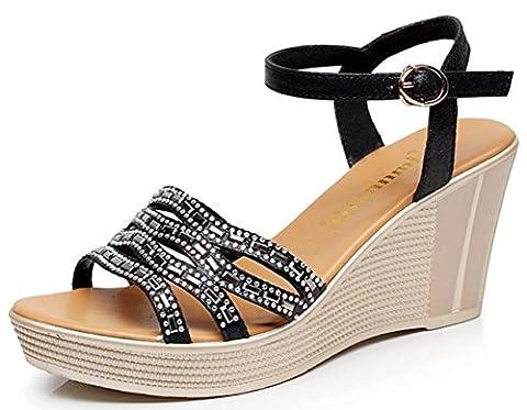 HYLM Sandales femme nouvelles sandales compensées chaussures à fond épais / cuir à talons hauts / femmes de grande taille sandales à bout ouvert , black , 39