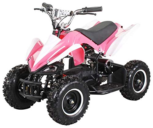Actionbikes Motors Mini Elektro Kinder Racer 800 Watt ATV Pocket Quad Kinderquad Kinderfahrzeug... (Pink/Weiß)
