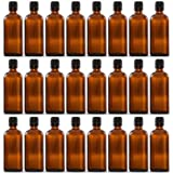 24 Sets Of 100ml Amber Color Round Glass Bottle With Euro Dropper & Cap – For Essential Oils, Blends, DIY Perfume...
