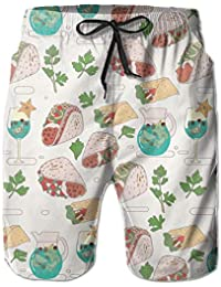 ZKHTO Tacos Burritos Margaritas and Cilantro Hawaiian Beach Swim Shorts  Printed Hiking fd47fe832fc