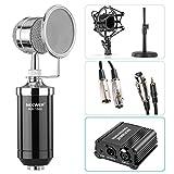 Neewer NW-1500 Mikrofon-Set: (1) Mikrofon mit Bügelständer, Stoßdämpfer und Pop-Filter + (1) 48V Phantomspeisung mit Adapter + (1) Audioeingangskabel + (1) Mikrofonkabel 1/4