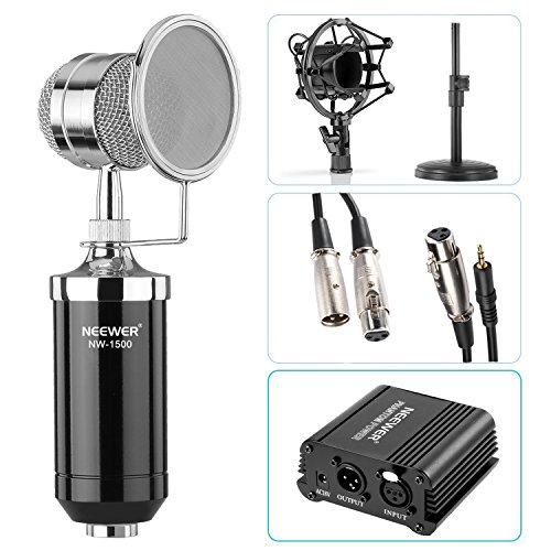 Neewer Kit de Micrófono NW-1500:(1)Micrófono con Soporte de Hierro, Shock Mount y Pop Filter+(1)Alimentación Phantom de 48V con Adaptador+(1)Cable de Audio+(1)Cable de Micro 1/4