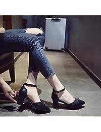 SHOESHAOGE Baotou Sandalias De Punta Gruesa High-Heeled Hembra Con Zapatos, Zapatos Planos Con Elegantes ,Eu34