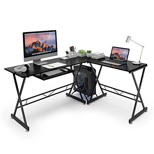 SLYPNOS Escritorio de Esquina, Mesa de Ordenador en Moderno Forma L, Mesa de Estudio Esquina, MDF+Acero, Capacidad máxima 50 Kg para Hogar, Oficina, Estudio (Negro)