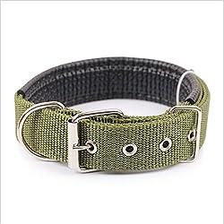 Ecloud Shop® Duradero y cómodo para mascotas collar de perro sólido clásico collar de perro de nylon poliéster básico 2.5 * 55cm verde del ejército