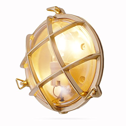 Foresti & Suardi - Lampe maritime ronde | Lampe de bateau | En laiton poli | ø 190 mm | IP 54 | E27 culot (verre clair)