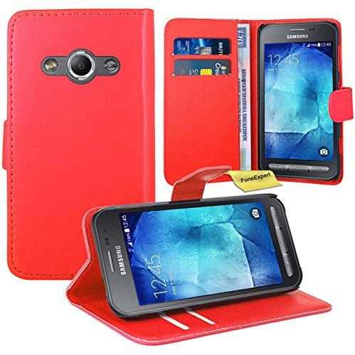 Preisvergleich Produktbild Samsung Galaxy Xcover 3 Handy Tasche, FoneExpert® Wallet Case Flip Cover Hüllen Etui Ledertasche Lederhülle Premium Schutzhülle für Samsung Galaxy Xcover 3 (Rot)