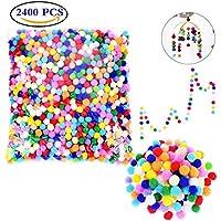 Liuer 2400PCS Colorato Pompon 9MM per Forniture per PON PON Giocattoli di  Peluche Hobby e Fai 77a0fc499a72