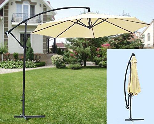 IMC Ampelschirm beige inklusive Schirmständer mit Kurbel/knickbar - Sonnenschirm ca. 300 cm Ø