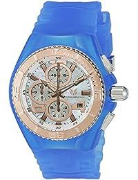 Technomarine Women's Quartz Watch with White Dial Chronograph Display and Blue Silicone Strap TM-115270