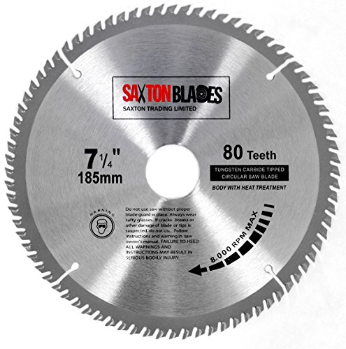 TCT18580T Saxton TCT Circular Wood Saw Blade 185mm x 30mm x bore x 80T for Bosch Makita Dewalt Fits 190mm Saws
