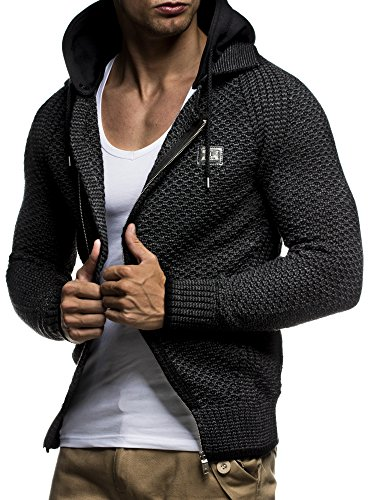 LEIF NELSON Herren Kapuzenpullover Strickjacke Hoodie Pullover mit Kapuze Sweatjacke Sweater Zipper Sweatshirt LN7055; Gr_¤e L, Schwarz-Anthra