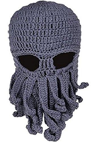 Bestfort Unisex Handarbeit Lustige Oktopus Strickmütze Bartmütze Stickmütze Häkeln Wollmütze Windschutz Mütze Halloween Party Maske Gesichtsmaske (Grau)