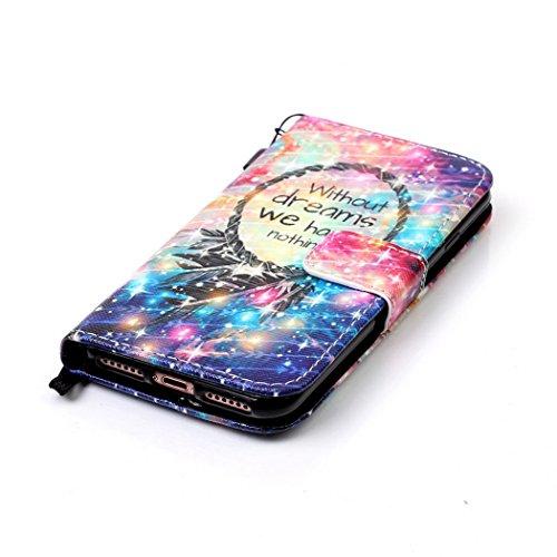 Ledowp Apple iPhone 8portafoglio in pelle, protezione integrale modello colorato design custodia in pelle custodia a portafoglio in pelle con slot per schede per iPhone 8 multicolore Wolf #1 Wind Chime #7