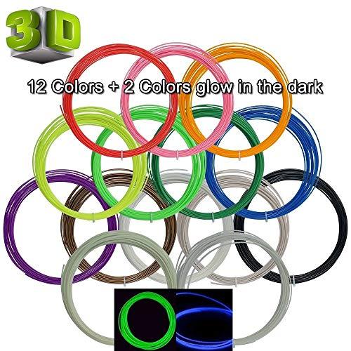 Penna 3D Filamento ABS - VICTORSTAR 14 Colori 140 Metri ( 455 Ft) 1.75mm Penna di Stampa 3D Filamento, 2 Incandescente nell'oscurità Colori Inclusi, 10 Petri (32.8ft) Ogni Colore