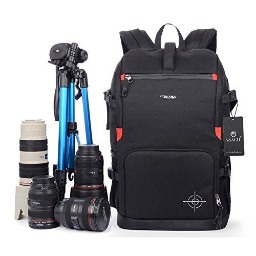 yaagle-sac-a-dos-unisexe-pour-appareil-photo-sport-loisir-en-polyester-noir