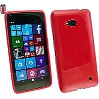 Emartbuy® Microsoft Lumia 640 3G 4G LTE / Lumia 640 3G 4G LTE Dual Sim Glänzend Gloss Gel Skin Tasche Hülle Rot