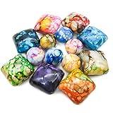TOAOB 40pcs bunte Perlen Acryl Harz Quadrat und Runde Perlen dekorative Steine Kieselsteine für Schmuck machen Perlen Handwerk