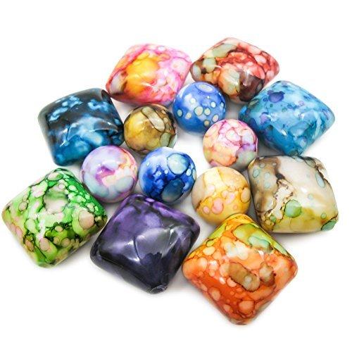 TOAOB 40pcs bunte Perlen Acryl Harz Quadrat und Runde Perlen dekorative Steine Kieselsteine für Schmuck machen Perlen Handwerk (Runde Perlen Quadrat)