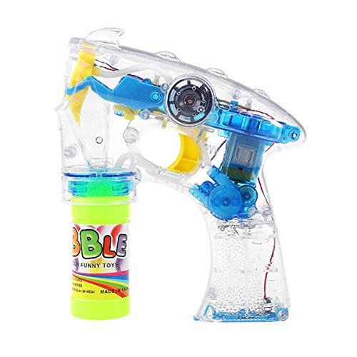 TOYMYTOY Bubble Pistole Seifenblasen Maschine Elektrische Bubble Shooter mit Lichter und Musik für Kinder (Blau)