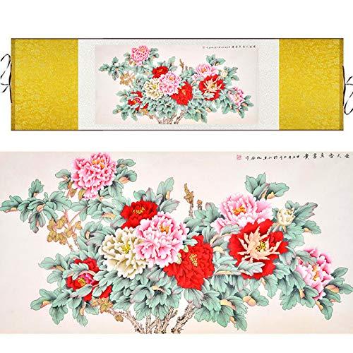 uarell Blume Und Vögel Tinte Reiche Pfingstrose Drucken Feng Shui Leinwand Wandbild Damast Gerahmte Schriftrolle Malerei Geschenk: 140X45 Cm Kein Rahmen ()