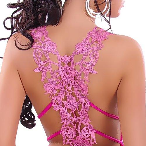 Haut sans manches noué dans le dos avec décolleté en V et détails en dentelle pink