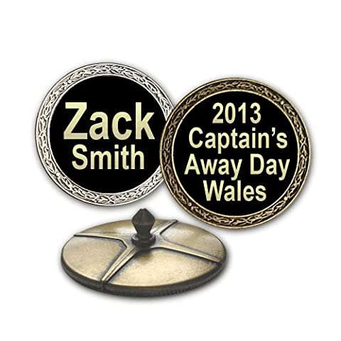Personalised EXTRA LARGE Golf Ball Markers (Antique Silver effect, gold on black)