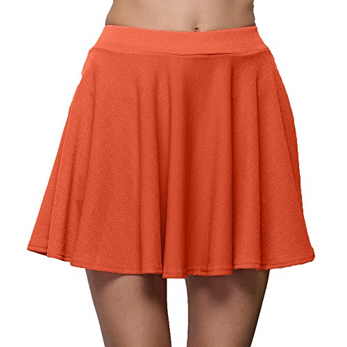 Damen Röcke, VEMOW Frauen Sommer Party Cocktail Hohe Taille Skater Karneval Mini Rock(Y2-Orange, M(Waist:64-74cm))