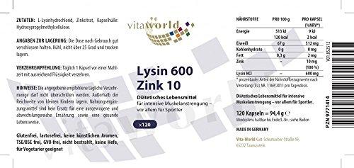 Vita World L-Lysin 600mg + Zink 120 Vegi Kapseln Apotheken Herstellung